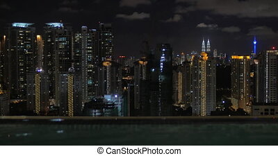From pool on roof of a hotel in Kuala Lumpur, Malaysia seen night city