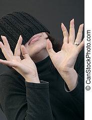 Woman in woolen cap - Young caucasian woman in woolen cap...