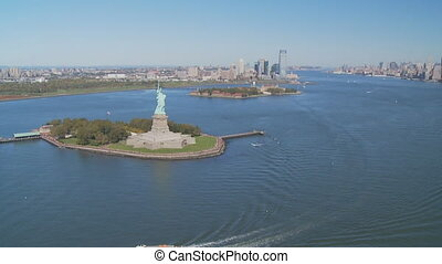 aerial view statue of liberty part III - aerial view upper...