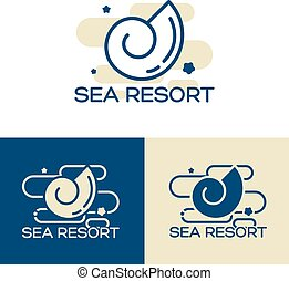 sea shell logo set - Vector sea shell logo concept