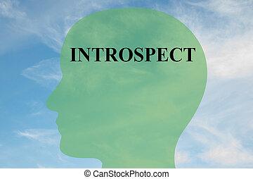 Introspect - mental concept - Render illustration of...