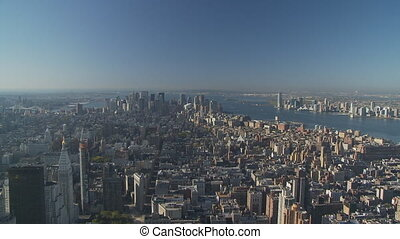 good morning manhattan pan shot - pan shot over manhattan...