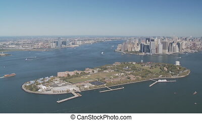 aerial view new york - aerial view upper bay governors...