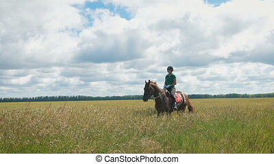Beautiful girl riding a horse in countryside. A beautiful...