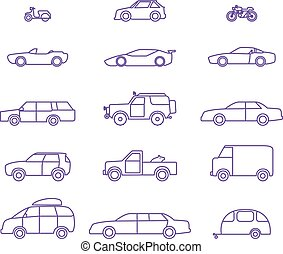 Car types outline icons set - Car types outline icons vector...