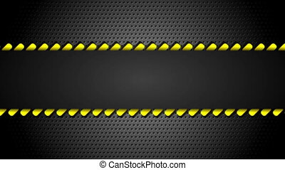 Yellow moving danger tape on metal perforated background....