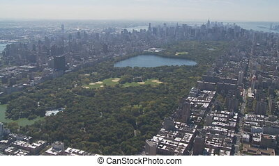 aerial view central park part V - aerial view east river,...