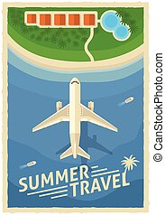 Summer Air Travel Retro Poster
