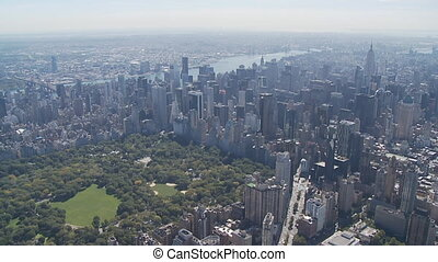 heli view over manhattan - aerial view over midtown...