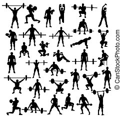 Bodybuilders and Weightlifters - Silhouette of Action and...