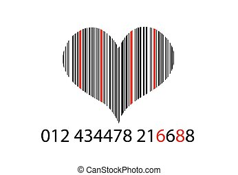 Bar-code on white with heart