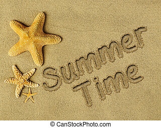 Summer time text on sand and starfishes