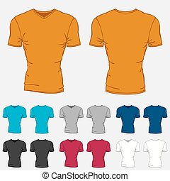 Set of colored t-shirts templates for men