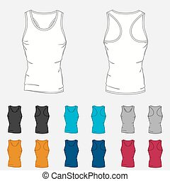 Set of colored singlets templates for men