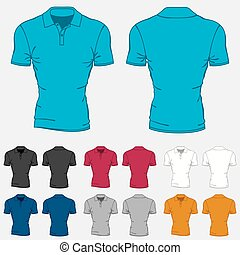 Set of colored polo-shirts templates for men