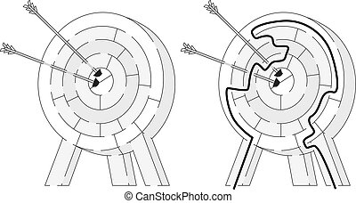 Easy archery maze for younger kids with a solution in black...