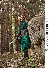 mulher, couro, Duende, armadura, verde, espada