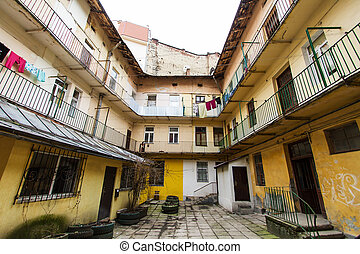 Typical courtyard in the old district of Lviv - Typical...