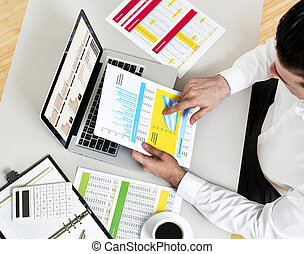 Businessman resolving financial issues