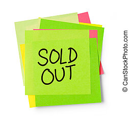 Sold out on adhesive note - Adhesive note on white...