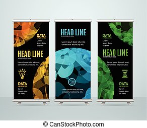Roll Up Banner Template with Abstract Sphere. Vector...