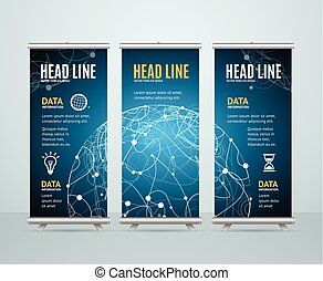 Roll Up Banner Template Cosmos Science Concept. Vector...