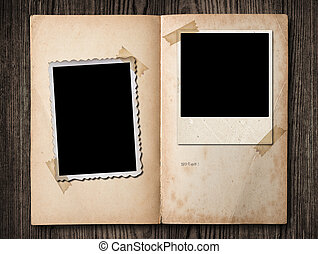 Vintage photo album - Vintage photo album, with copy space,...