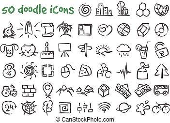 vector doodle icons set - Vector doodle icons set Stock...