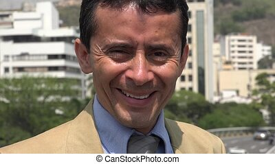 Happy Smiling Hispanic Business Man