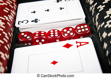 Poker cards and gambling chips background