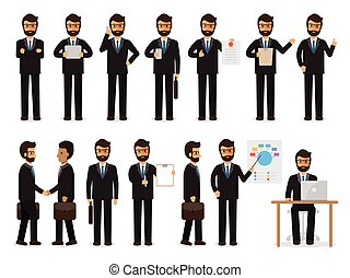 Businessman characters in action - Set of working people on...
