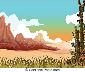 beauty landscape with desert - vector illustration of beauty...