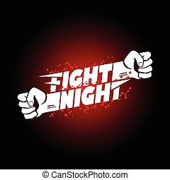 Fight night mma wrestling fist logo - Fight night mma,...