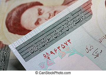 iranian currency - iranian rial closeup