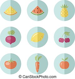 Set of fruit and vegetable icons