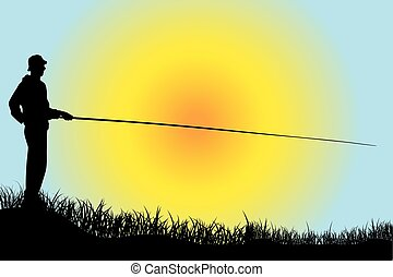 Silhouette of a fisherman