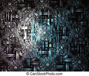 Abstract fractal futuristic pattern - Computer-generated...