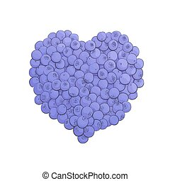 Blueberry heart shape symbol concept for healthy eating and...