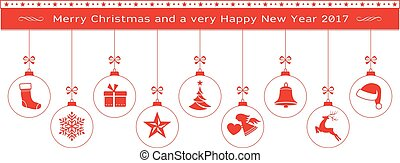 Red Merry Christmas and Happy New Year border with hanging ornaments