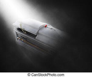 3D coffin with skeleton emerging - 3D render of skeleton...