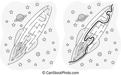 Easy rocket maze for younger kids with a solution in black...