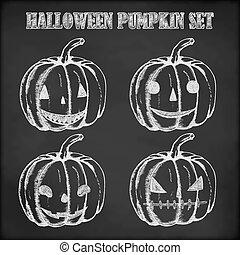 Halloween pumpkin hand drawn in chalk - Pumpkin chalk sketch...