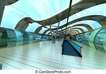 Futuristic Subway Station - A futuristic subway or train...