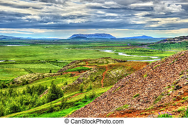 Geothermally active Haukadalur Valley in Iceland