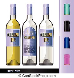 Vector wine bottles mockup with your label here