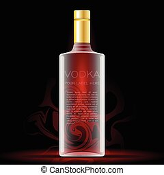 Vector vodka bottle mockup with your label here text. Silver...