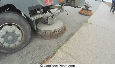 Sweeper machine on street - RUSSIA, SAINT PETERSBURG, JULY,...