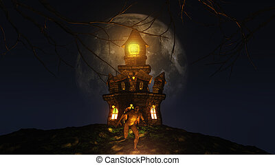 3D Halloween background with creature running from spooky...