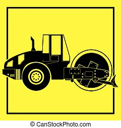 Silhouette of a road roller. Vector style