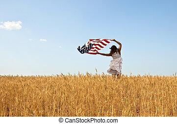 hermoso, joven, niña, tenencia, norteamericano,...